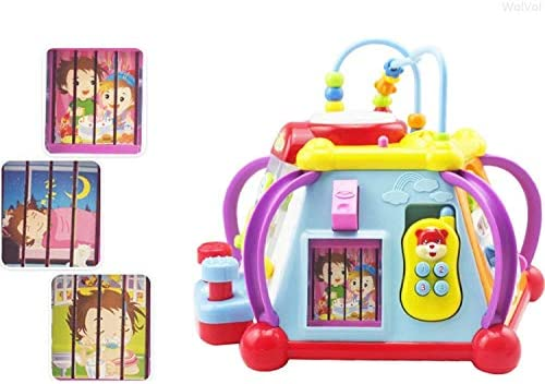 WOLVOLK EDUCATIONAL KIDS TODDLER BABY TOY MUSICAL ACTIVITY CUBE PLAY CENTER WITH LIGHTS, LOTS OF FUNCTIONS AND SKILLS FOR LEARNING AND DEVELOPMENT