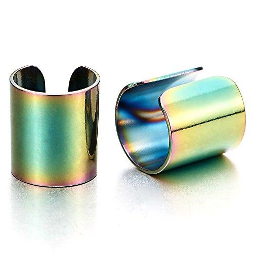 Metal Clip Earrings (2pcs Stainless Steel Colorful Ear Cuff Ear Clip Non-Piercing Clip On Earrings for Men and Women)
