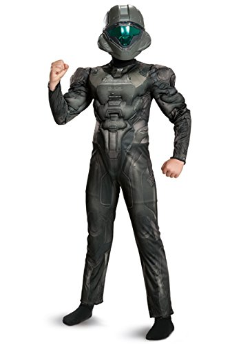Halo Spartan Buck Classic Muscle Costume, Black, Large (Spartan Costumes Halo)