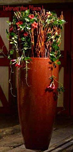 Blumenübertopf Partner aus Keramik, sonnen- und regenbeständig für Innen und Außen, Farbe Rot Ø 33cm Höhe 60cm