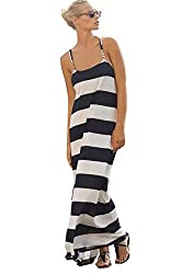 SheIn Women's White Navy Sleeveless Spaghetti Strap Striped Shift Maxi Dress