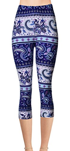 VIV Collection Junior Size Printed Brushed Capris (Paisley Dusk)