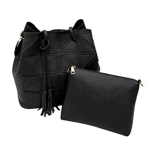 2 pièces/set femmes Tassel PU Sac à bandoulière en cuir de grande capacité colorée sac à main Sangle Sling Voyage Arichtop Noir