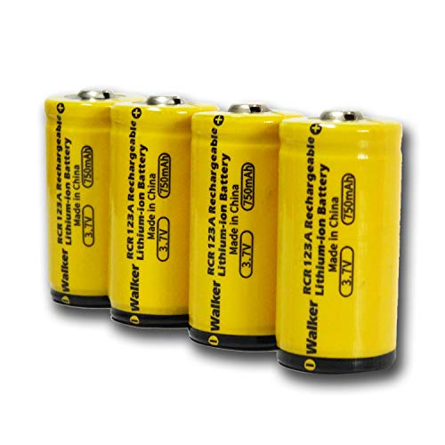 Arlo Batteries Rechargeable Walker Power CR123A Lithium Batteries 3.7V 750mAh 4 Pack for Arlo Cameras VMC3030 VMK3200 VMS3330 3430 3530 and Flashlights System