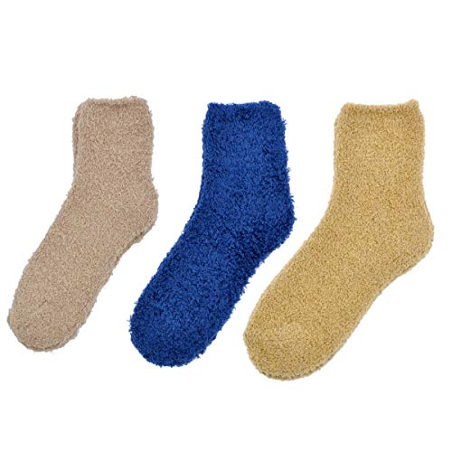 - Soft Winter Fuzzy Plush Socks - 3 Pairs Set, Plain V28 (Cam Blu Mus)