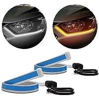 Fita de LED DRL Dual Color Universal 3000K 6000K 12V 6,8W Farol e Seta Luz Diurna Daylight 60cm