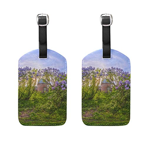 (NfuquyamDoormat Custom Luggage Tag for Baggage Suitcase Spring Flower Village Leather Travel Bag Address Labels 2 Pieces)