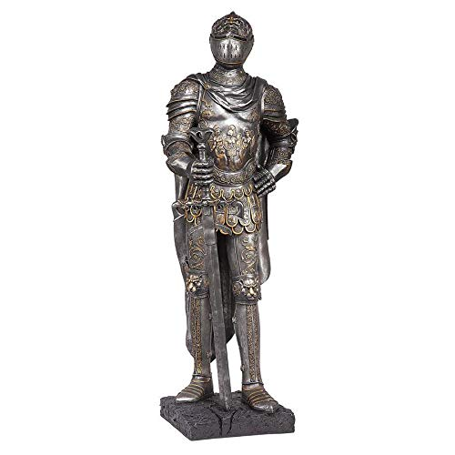 Design Toscano The King s Guard Medieval Decor Half Scale Knight Armor Gothic Statue, 39 Inch, Polyresin, Two Tone Metallic