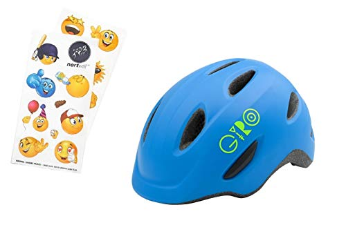 (Nortwill Giro Bike Helmet Set - Giro Scamp Youth Bike Helmet, Giro Kids Bike Helmet, Toddler Helmet - with Cute Emoji Waterproof Stickers (Scamp - Matte Blue, Small))
