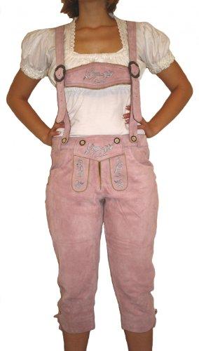 Damenlederhose Damen kniebundhose Trachten Lederhose Ziegenleder ROSA, Größe:48