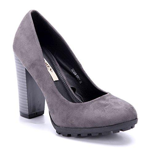 d2734d5b2807 Schuhtempel24 Damen Schuhe Klassische Pumps Blockabsatz 11 cm High Heels  Grau