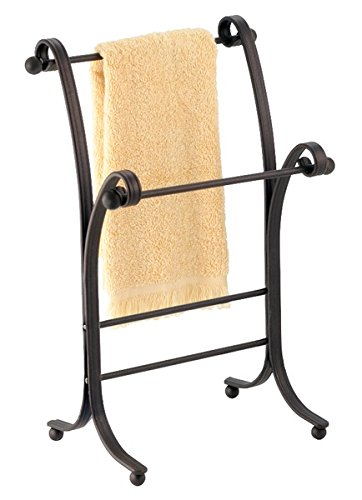 mDesign Metal Towel Holder Stand for Bathroom Vanities - Bronze