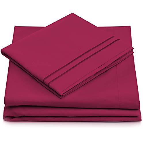 California King Bed Sheets - Fuchsia Luxury Sheet Set - Deep Pocket - Super Soft Hotel Bedding - Cool & Wrinkle Free - 1 Fitted, 1 Flat, 2 Pillow Cases (Silk Pillow Top Mattress)