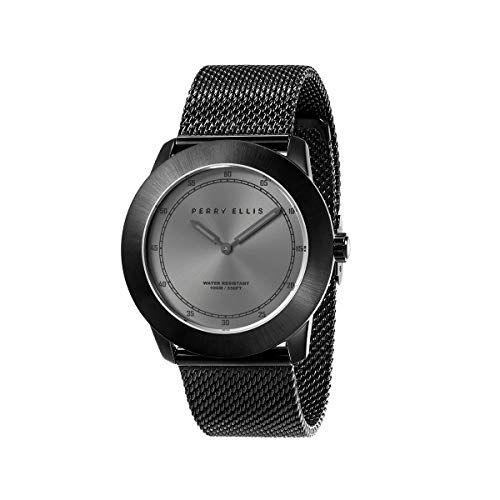 Perry Ellis Minimalist Men Watch Waterproof 44mm Quartz Watch Luminous Ultra Thin Slim Stainless Steel Mesh Band