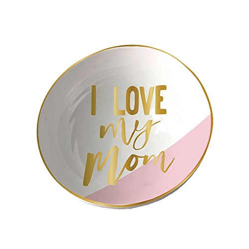 I Love My Mom Gold Foil Color Block 4 Inch Ceramic Trinket Jewelry Dish