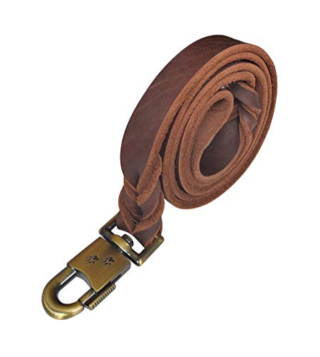 kgt Genuine Leather Braided Dog Training Leash Heavy Leather Duty Lead for Larger Dog (5 Ft-1 in)