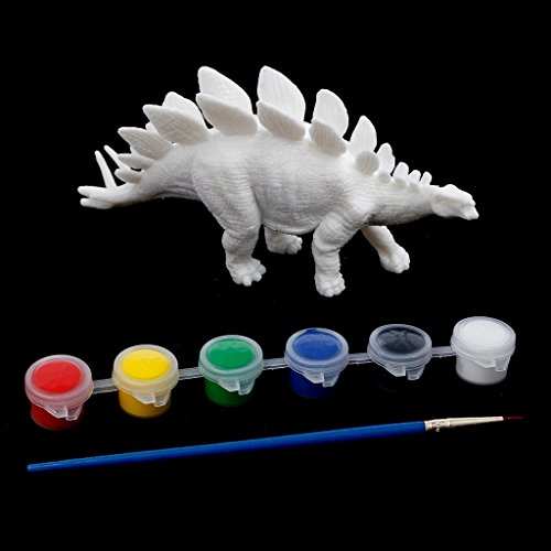 (EA-STONE Coloring Painting Drawing,DIY Graffiti 3D Dinosaurs Models Toys for Kids Children, Stegosaurus)