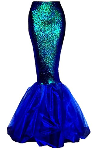 [Womens Sexy Mermaid Halloween Costume Fancy Party Sequins Maxi Dress Tail Skirt (US 10, Blue)] (Halloween Costumes For 4 People)