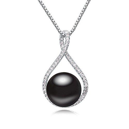 Alvdis Tear Drop Style Rhinestone Crystal Pearl Pendant Necklace, 16', Black