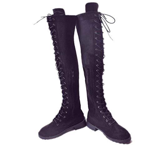 37 Deed Y Zapatos Con 40 'botas Eu Eu negro Grueso Señoras De Alta Cilindro Vendaje Rodilla qnPwq01r