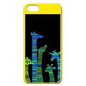 Aztec Tribal Giraffe Protective Colorful Hard Shell Yellow Cover Case for iPhone 5C