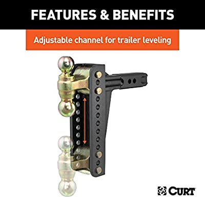 CURT 45926 Adjustable Trailer Hitch Ball Mount for 2-Inch Receiver, 10-1/8-Inch Drop, 2 and 2-5/16-Inch Hitch Balls, 14,000 lbs. Capacity: Automotive