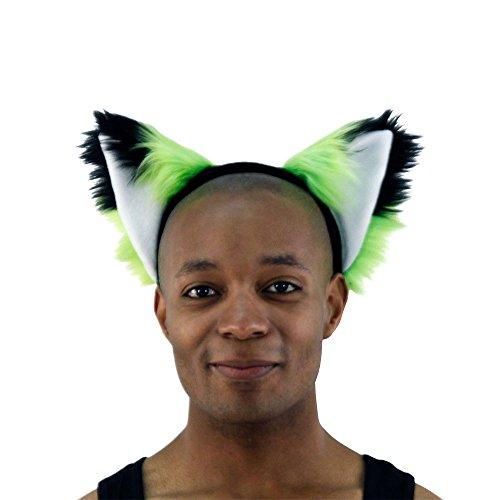 Pawstar Furry Fox Ears Headband Wolf Halloween Costume Adult - (Green Fox Fur Headband)