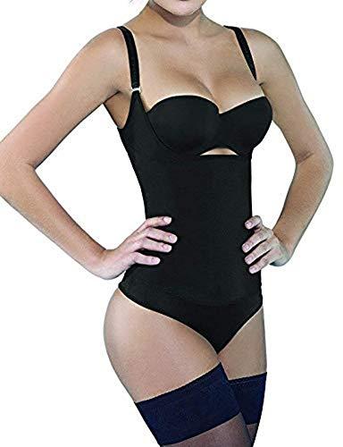 Camellias Women Seamless Firm Body Control Bodysuit Thong Body Shaper Slimmer Shapewear Black, SZ7095-Black-L