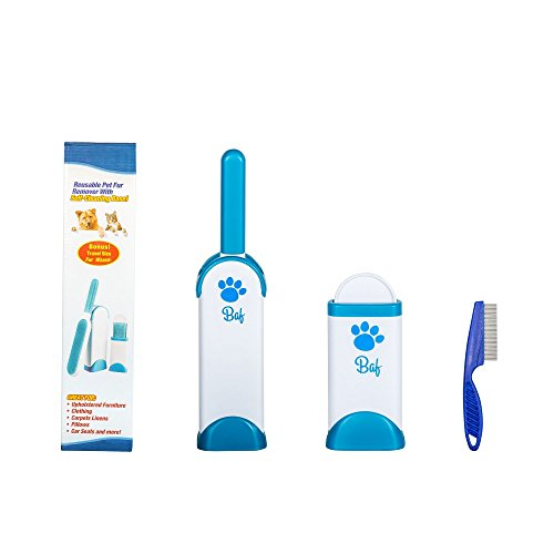 Pet Fur and Lint Remover Brush - Hair Remover Tool - Reusable Double-Sided & Sticky with Self-Cleaning Base - Dog & Cat Hair Remover Pads for Furniture, Bed, Couch, Carpet, Car Seat, Clothing