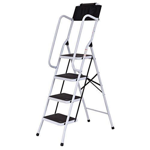 Toolsempire 2 in 1 Folding Non-Slip 4 Step Ladder with handrails and Tool Pouch Caddy 330lbs Capacity by Toolsempire