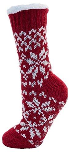 Ladies Red & Cream Fairisle Fleece Lined Chunky Slipper Socks