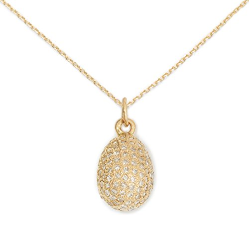 Delicacies Egg Pave Diamond and 14K Gold Pendant Necklace, Food Jewelry for Food Lovers, Chefs, Cooks and Epicureans