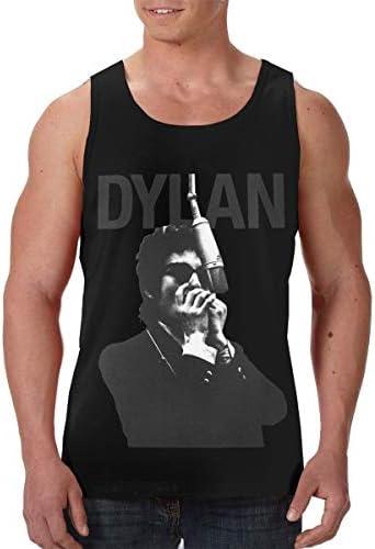 ボブ ディラン Bob Dylan メンズ フロントプリント袖なしク シャツ 速い乾燥 ジム トレーニング用