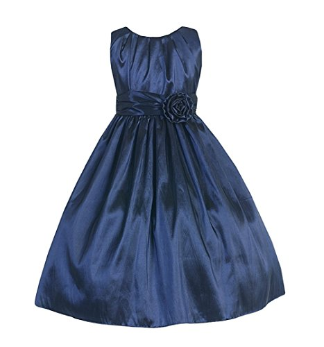 Navy Blue Taffeta Dress - 5