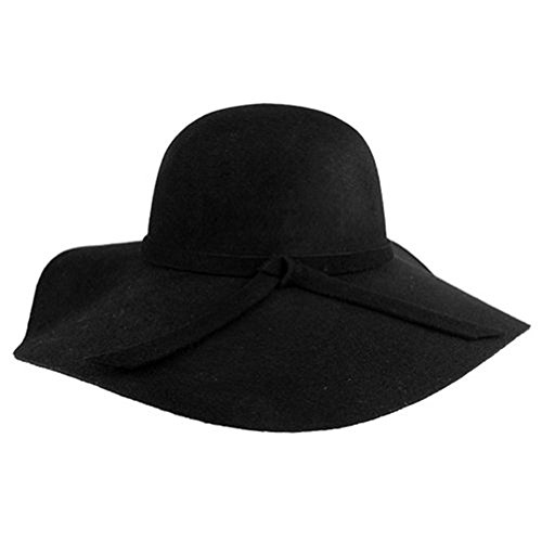 Dealzip Inc? Vintage Style Women Lady Wide Brim Wool Felt Bowler Fedora Cloche Floppy Beach Sun Hat Cap with Lovely Bow Band - Ray Sale Bands
