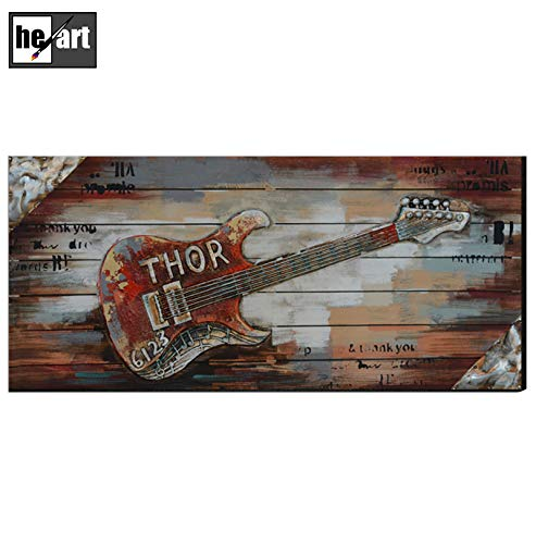 Guitar Pictures for Wall Decor Hand Made 3D Metal Paintings Wooden Board Frames Artwork Iron Texture Sculpture Commemorative Edition bar Emboss Mural Ready to Hang,B