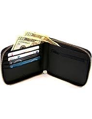Royce Leather Rfid Blocking Zip Around Wallet in Saffiano Leather, Black