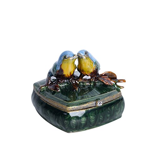 NIKKY HOME Small Vintage Love Birds Pewter Jeweled Trinket Box, 2.1'' by 2.1'' by 1.8'' ()