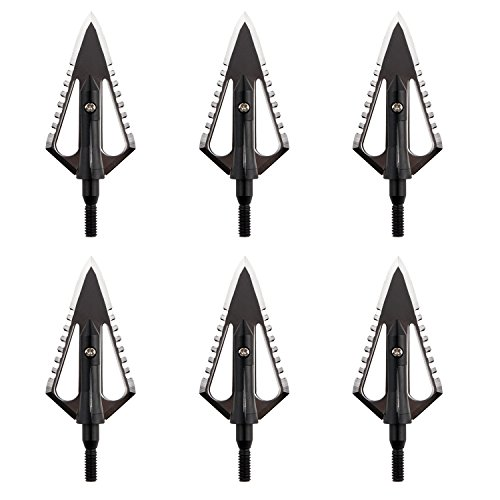 (AUNKZL 100 grain 2 Blade Serrated broadhead Arrow Head for Bow Crossbow Hunting(6pack))