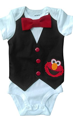 1st Birthday Baby Boy Outfit Elmo Vest, White-black-red, 18M-Short Sleeve