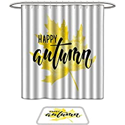 Shower Curtain and Mat SetHello autumn text on yellow watercolor maple leaf Hand drawn calligraphy brush pen lettering design for holiday greeting card and invitation of autumn holiday shopping prom
