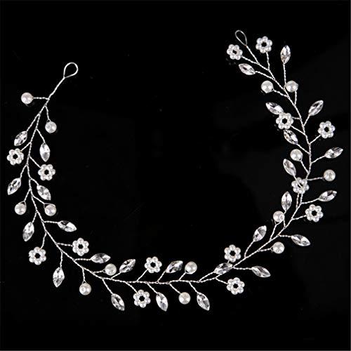 Silver Hair Jewelry Simulated Pearl Rhinestone Headb Bridal Tiaras Hairb s Headpiece Wedding Women Hair Accessories FD558 ()