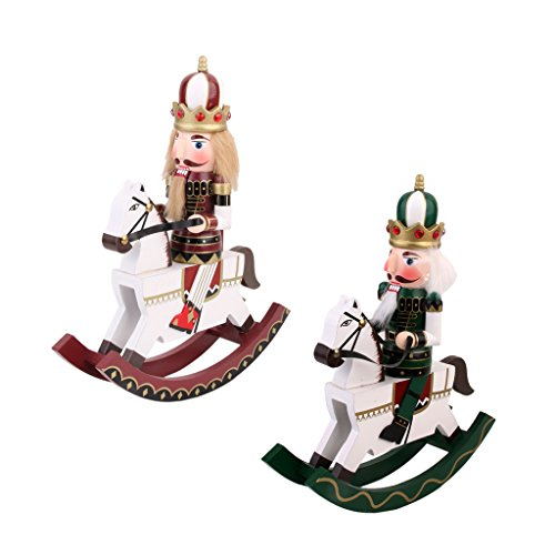 Dovewill 2 Pieces Vintage Wooden Hand Painted Nutcracker on Rocking Horse Toy Xmas Ornament Collectibles