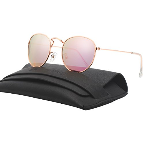 Classic Small Round Polarized Sunglasses Lightweight Color Mirrored Shades For Unisex 86628C Pink - Pink Rb3447