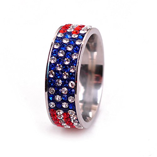 American Flag Ring - SUNDAYROSE Stainless Steel Ring American Flag Cubic Zirconia Eternity Band - Size 7