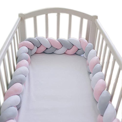 LOAOL Baby Crib Bumper Knotted Braided Plush Nursery Cradle Decor Newborn Gift Pillow Cushion Junior Bed Sleep Bumper (4 Meters, White-Gray-Rose)