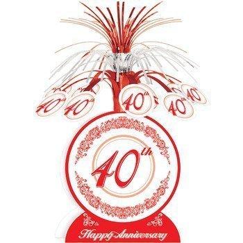 Feliz 40 Aniversario Boda Rojo Rubí Centro de MESA mesa decoración 33cm ALTO Beistle