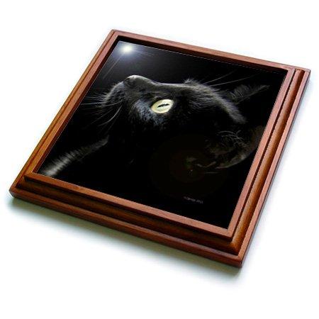 3dRose trv_23822_1 black cat face-Trivet with Ceramic Tile, 8