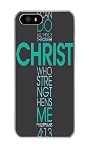 Iphone 5S Case Bible Philippians Jesus Christ Christian Cross Clear PC Hard Case For Apple Iphone 5S