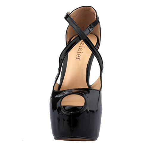 Calaier Mujer Cadifference Tacón De Aguja 16CM Sintético Elástico Sandalias de vestir Zapatos Negro